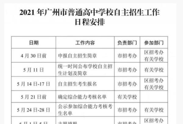 2021年广东广州普高自主招生工作日程安排